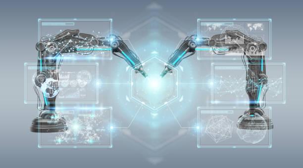 brazos de robótica con pantalla digital aislada en fondo gris renderizado 3d - robótica fotografías e imágenes de stock