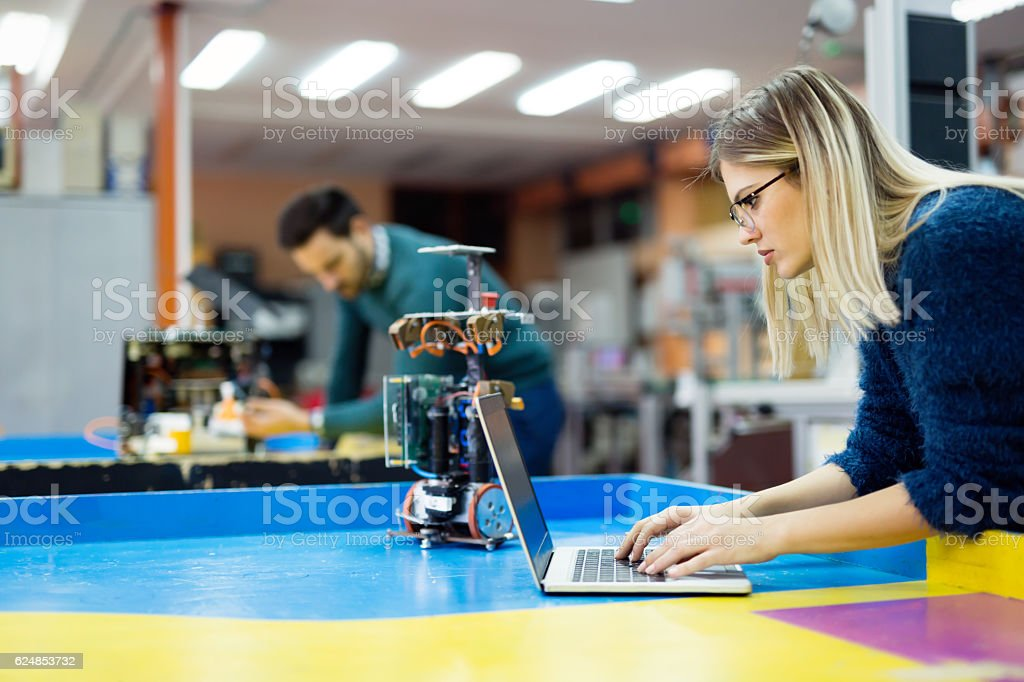 Robotics engineer students teamwork stock photo