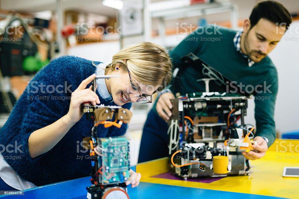 Robotics engineer students teamwork stock photo