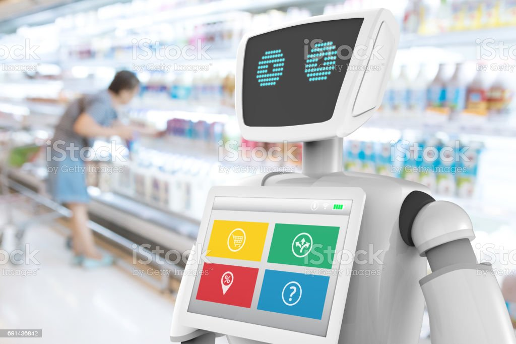 Robotics Trends technology business concept. Autonomous personal assistant robot for navigation direction and items in retail mall shop blur background. 3D rendering stock photo