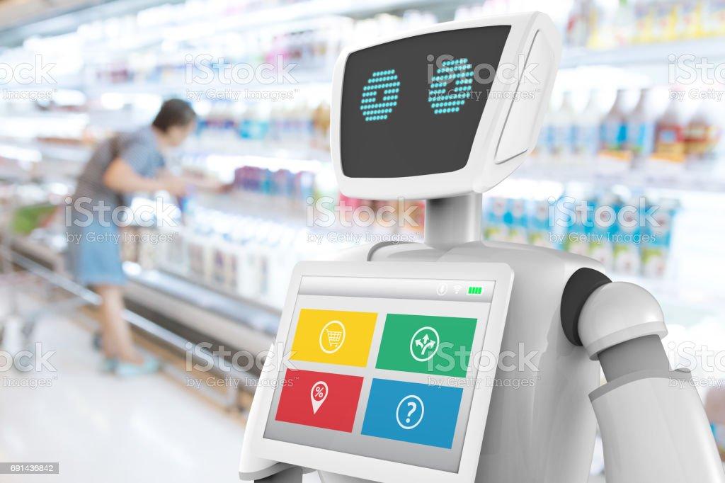 Robotik-Trends-Technologie-Business-Konzept. Autonome persönlicher Assistent Roboter für Navigationsrichtung und Artikel im Ladengeschäft Mall Hintergrund weichzeichnen. 3D-Rendering – Foto