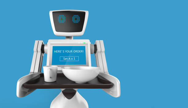 Robotik-Trends-Technologie-Business-Konzept. Autonome persönlicher Assistent persönliche Roboter für servieren Speisen im Restaurant mit blauem Hintergrund. 3D-Rendering – Foto