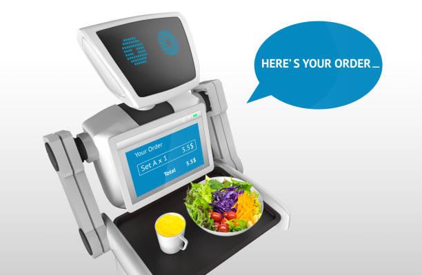 Concepto de negocio de tecnología de las tendencias de robótica. Asistente personal autónomo robot personal para servir naranja zumo y ensalada en el restaurante con fondo gris. Render 3D - foto de stock
