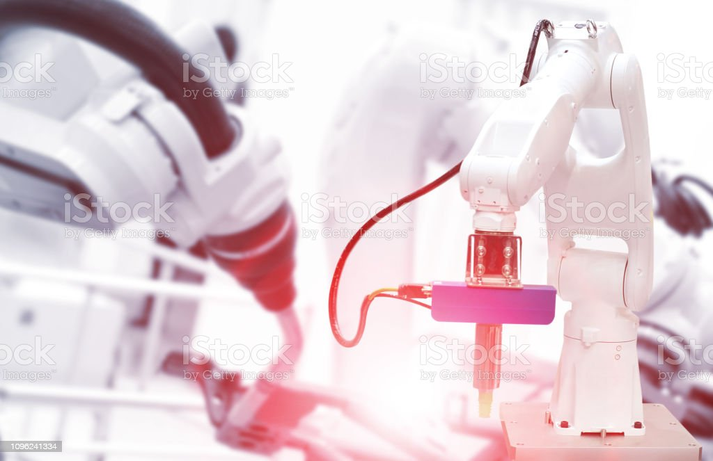 robots are working stock photo