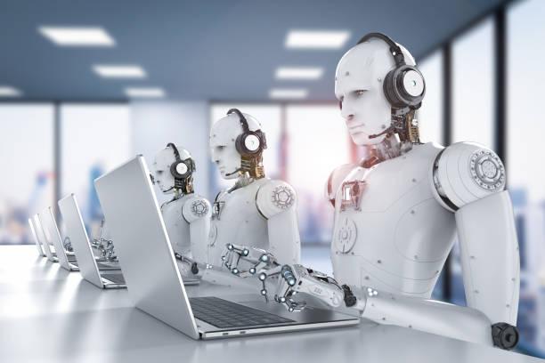 centro de llamadas de robots - robot fotografías e imágenes de stock