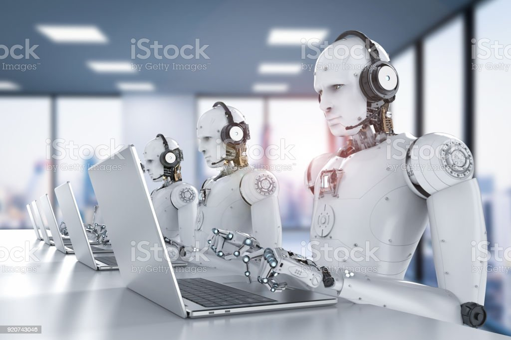 robots call center stock photo