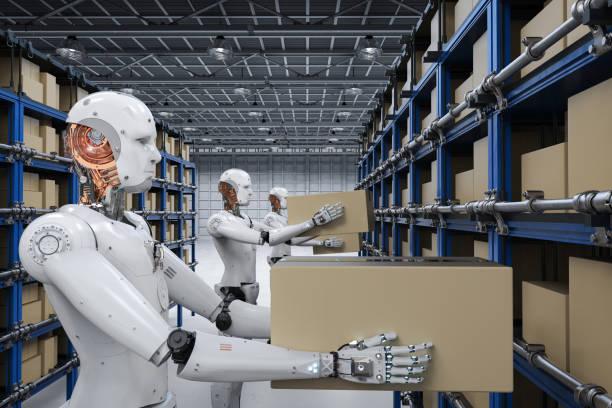 robotar bära lådor - delivery robot bildbanksfoton och bilder