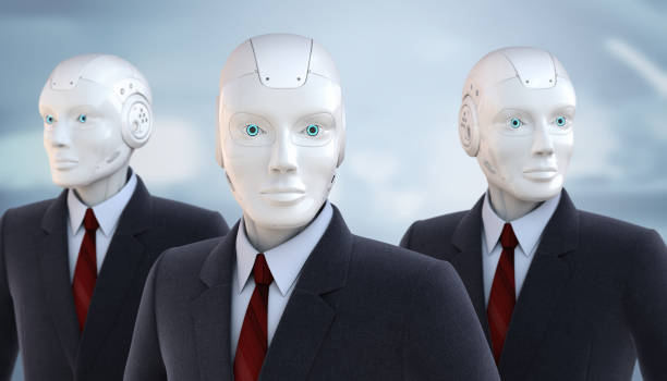 Robots dressed in a business suit stock photo