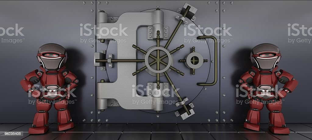 robots guarding a bank vault royalty-free stock photo
