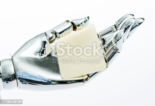 910163152 istock photo Robot's hand holding a empty business card 1129149106