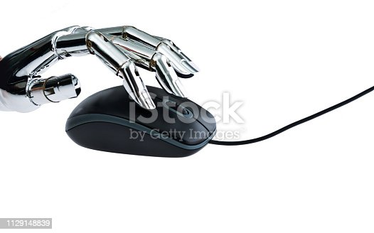 istock Robot's hand using computer mouse 1129148839