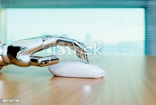 Robot's hand using computer mouse.