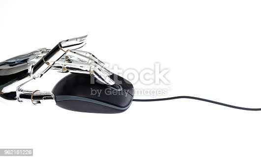 istock Robot's hand using computer mouse 962161226