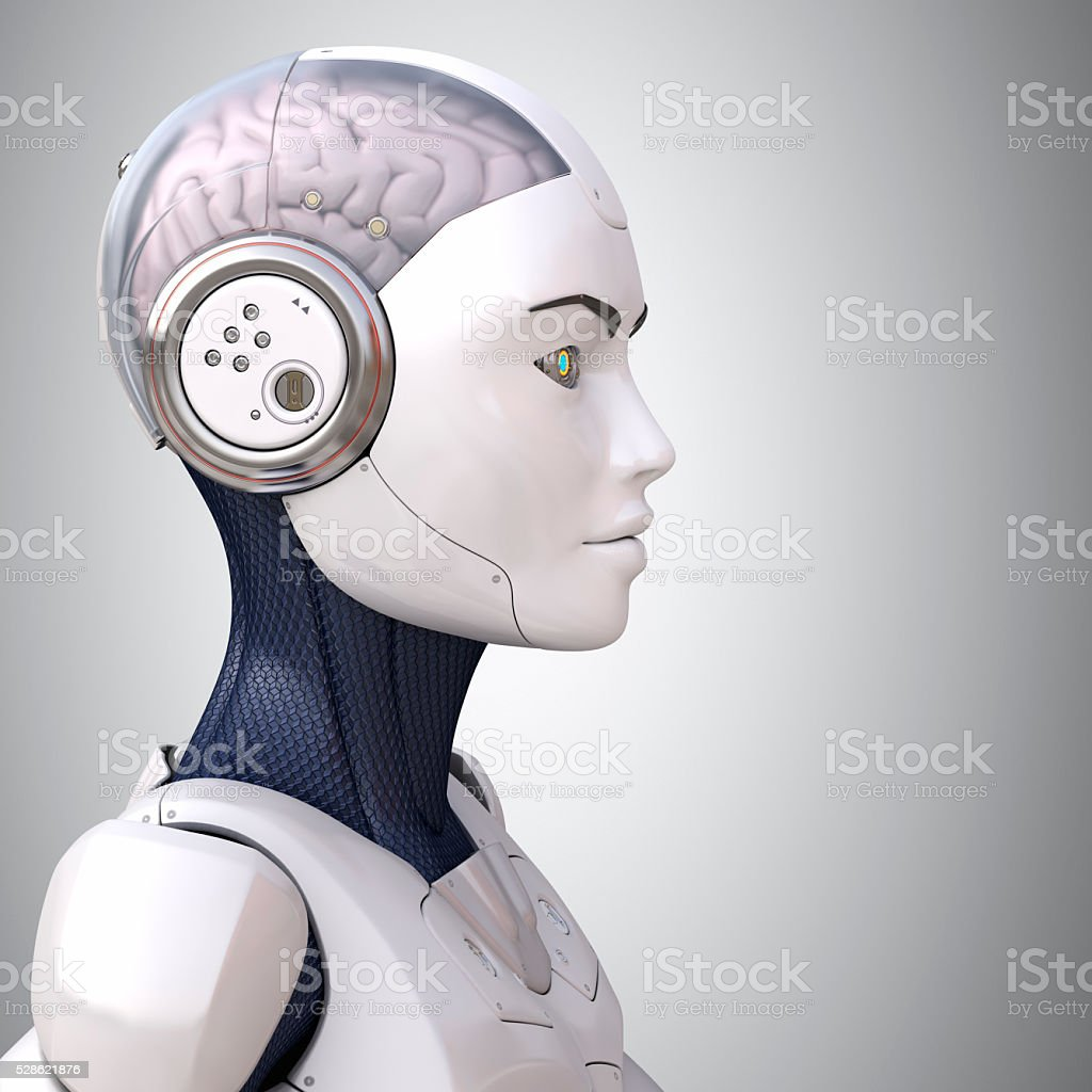 Robot's head in profile stock photo