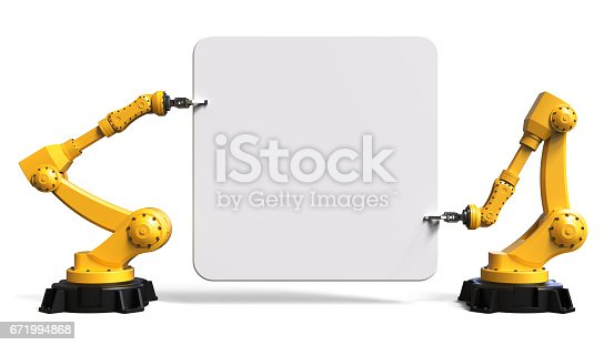 istock Robots holding a board 671994868