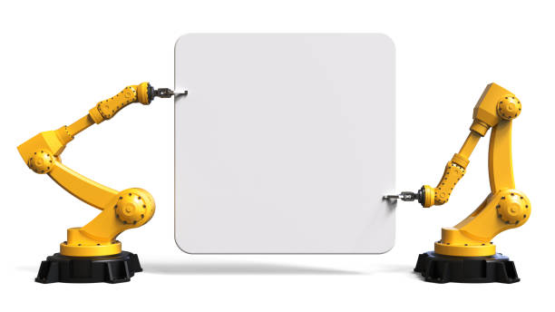 Robots holding a board stock photo