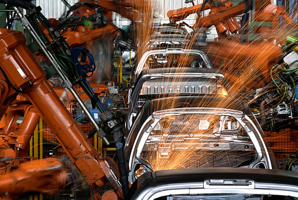 Roboter In einer Autofabrik – Foto