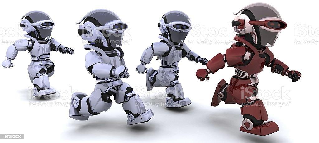 robots running royalty-free stock photo