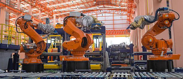 Roboter Schweißen in einer Produktionslinie – Foto