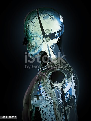 A cyborg's body section. New generation cyborg's machine vehicles. New human age.
