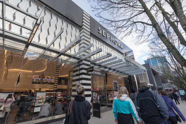 Robson Street of Downtown shopping district in Vancouver BC stock photo