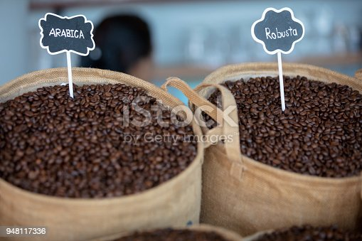 istock Robusta and arabica coffee beans 948117336