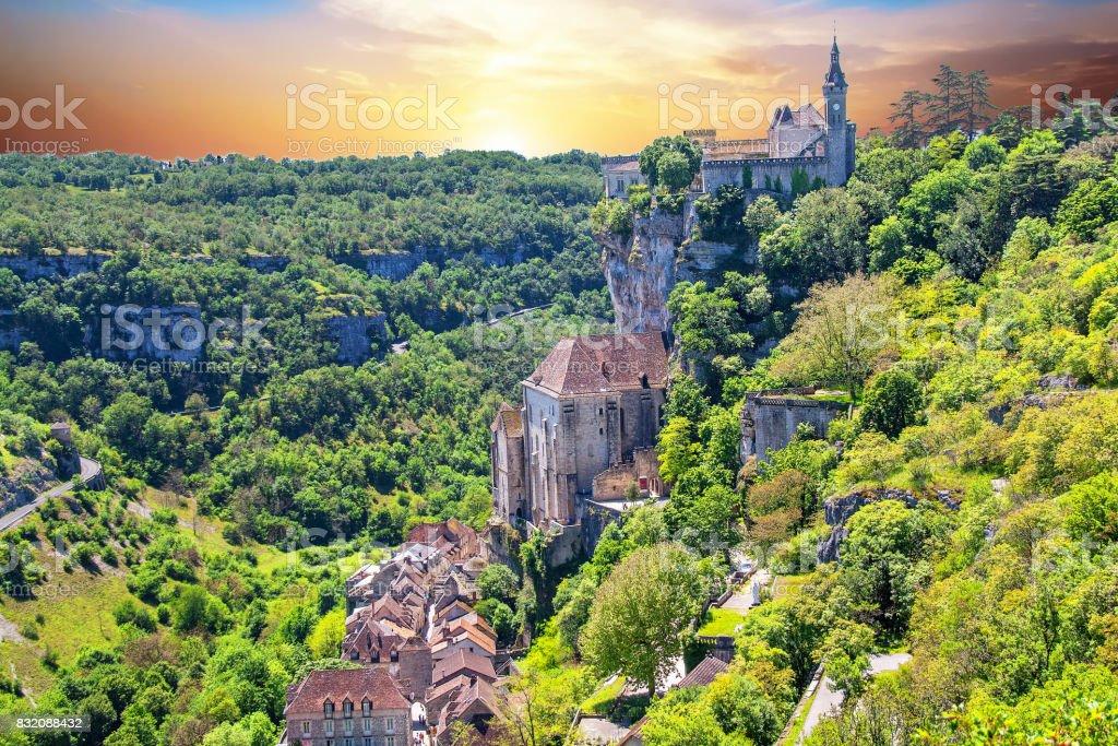 Rocamadour. Vue sur le rocher Lot. Occitanie royalty-free stock photo