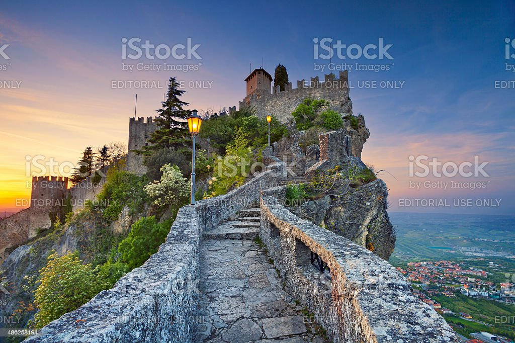 Rocca della Guaita fortress, San Marino. stock photo