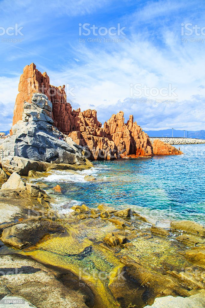 Rocca Rossa in Arbatax, Sardinia stock photo
