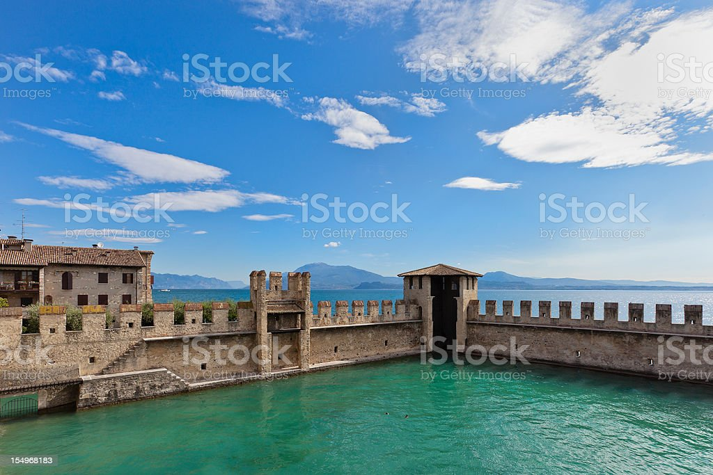 Rocca Scaligera Features, Sirmione stock photo