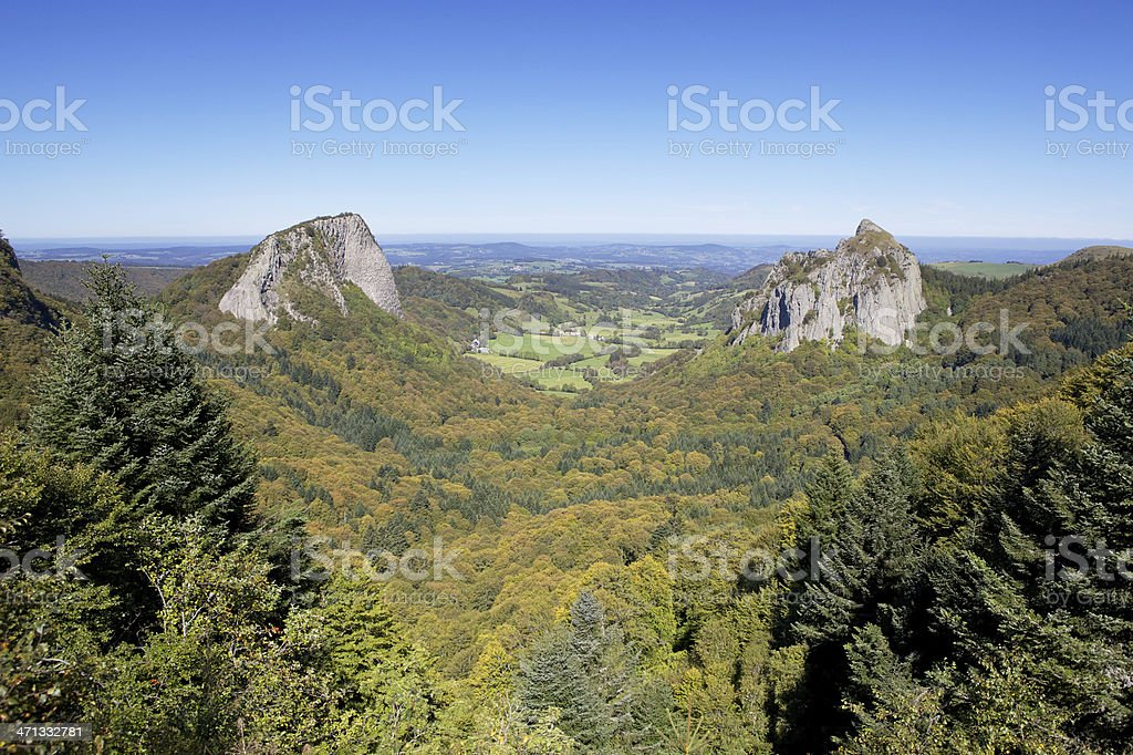 roche Tuiliere and Sanadoire in The Auvergne stock photo