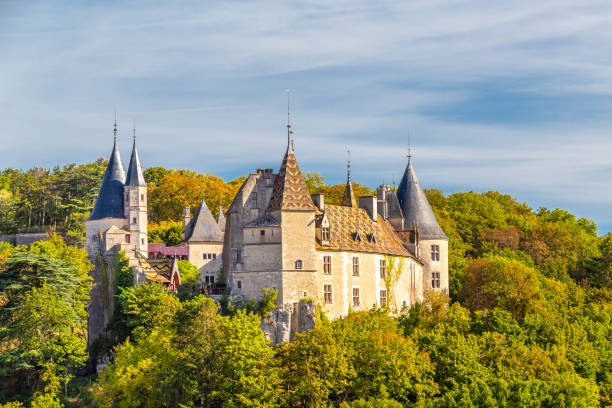 Rochepot Castle in Burgundy, France. stock photo