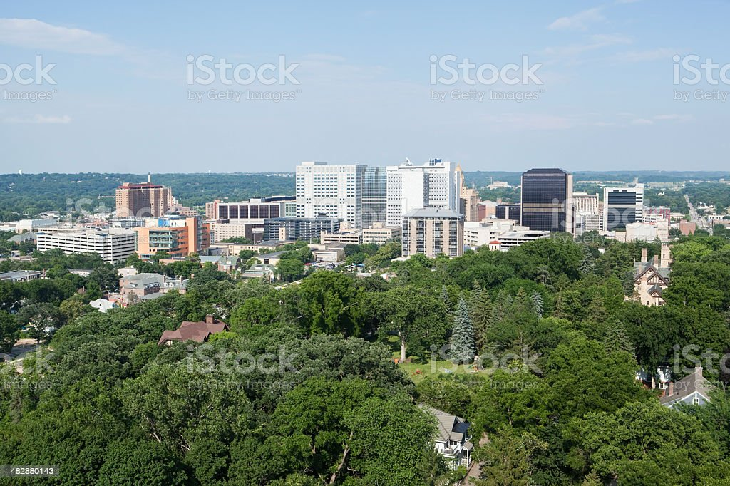 Rochester Minnesota Downtown, Aerial View from Water Tower stock photo