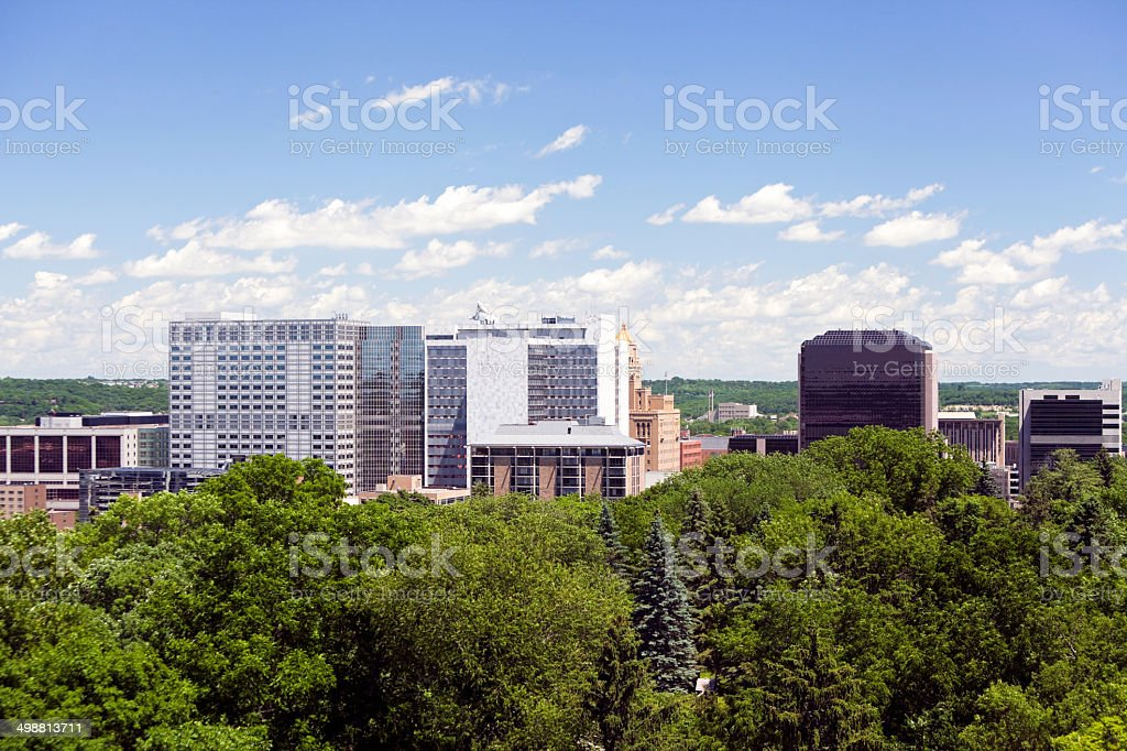 Rochester Minnesota Downtown Aerial With Mayo Clinic