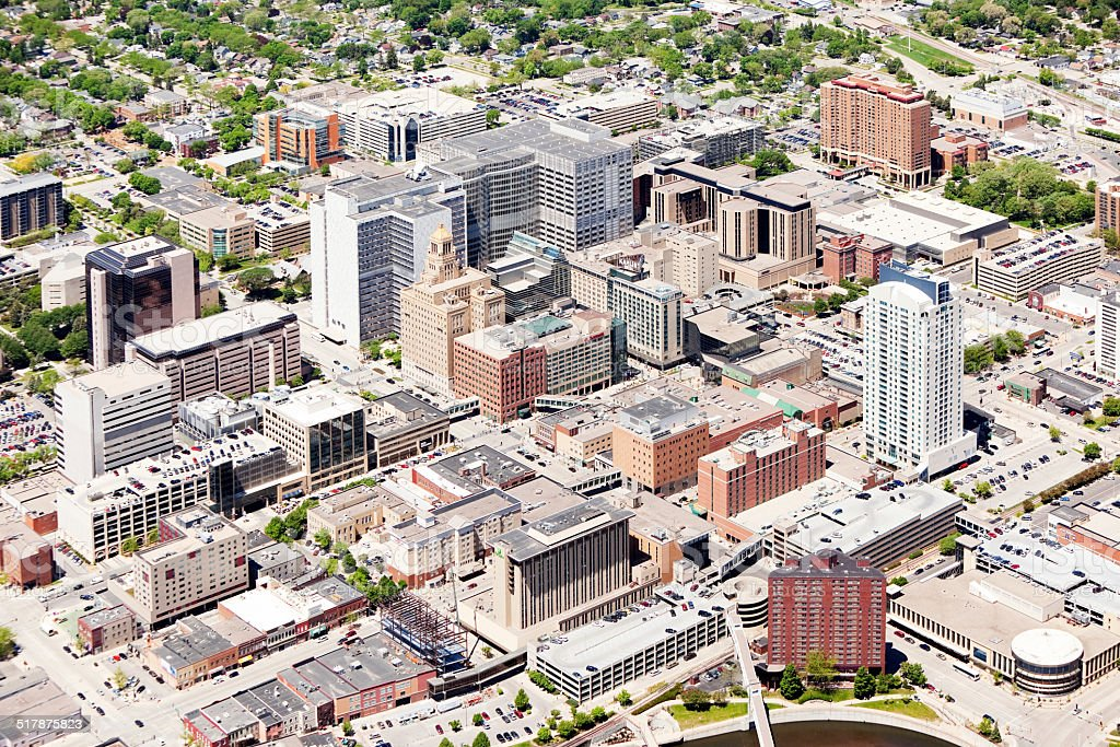 Rochester Minnesota Downtown Aerial With Mayo Clinic Buildings Stock