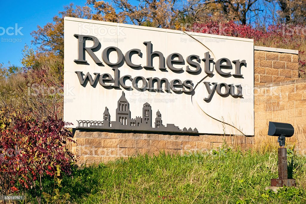 Rochester Minnesota Highway Entrance Welcome Sign stock photo