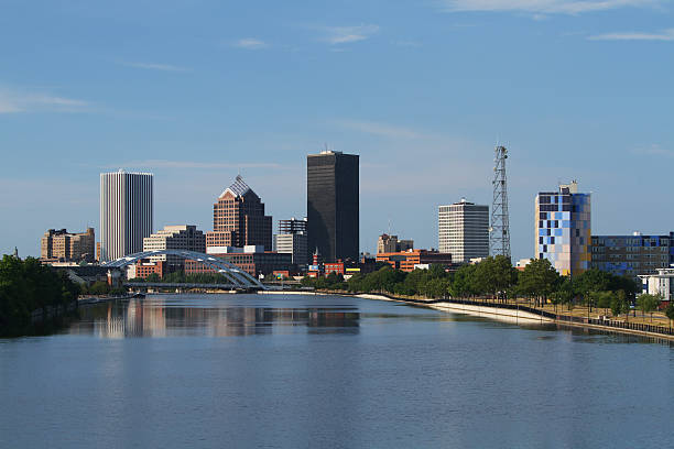 rochester new york cityscape skyline - rochester ny skyline stock photos and pictures