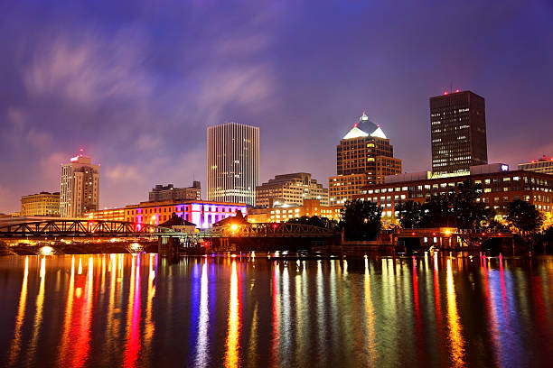 rochester new york - rochester ny skyline stock photos and pictures