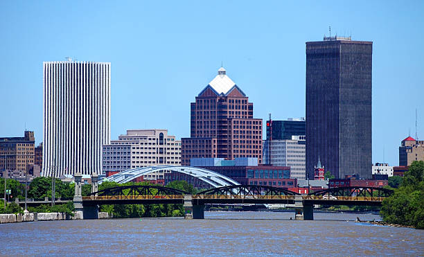 rochester, new york - rochester ny skyline stock photos and pictures