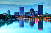 Rochester skyline along the Genesee River. Rochester is a city on the southern shore of Lake Ontario in the western portion of the U.S. state of New York, and the seat of Monroe County.