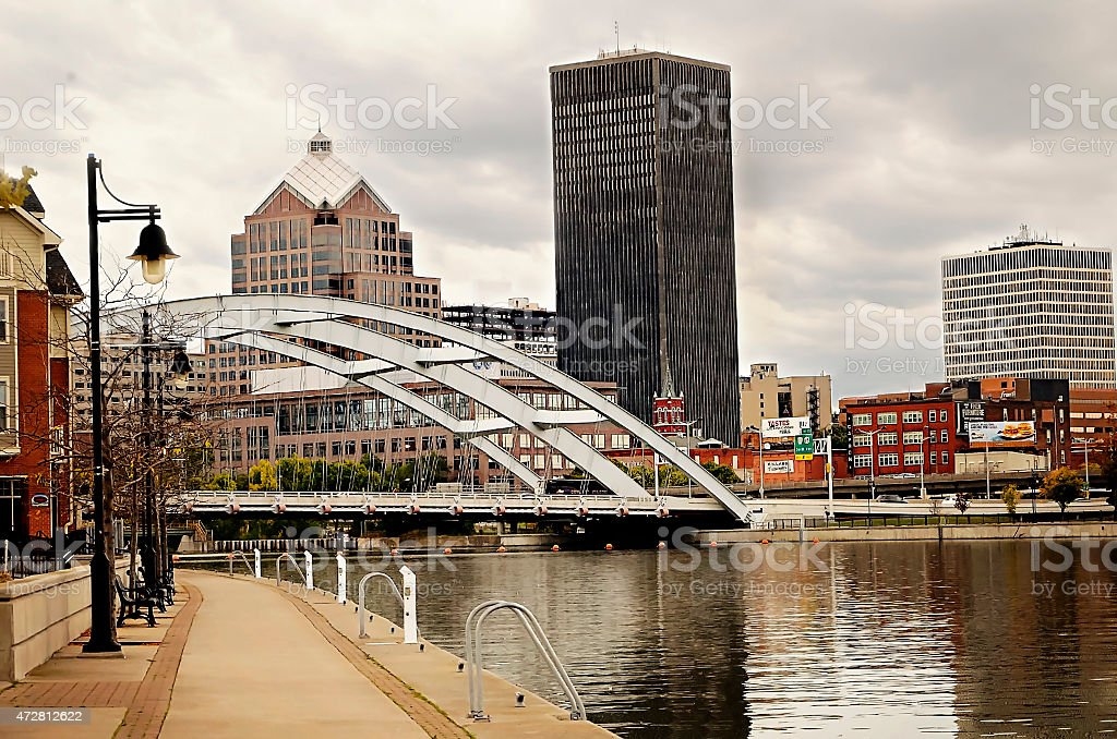 Rochester, New York river cityscape stock photo
