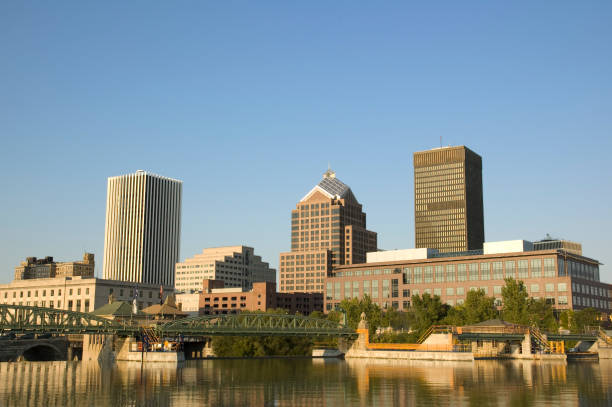 rochester, ny - rochester ny skyline stock photos and pictures