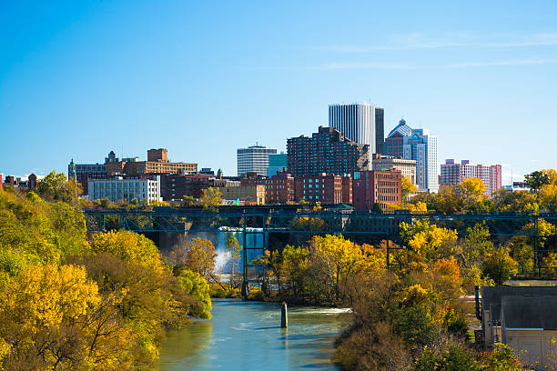 rochester skyline and waterfall view - rochester ny skyline stock photos and pictures
