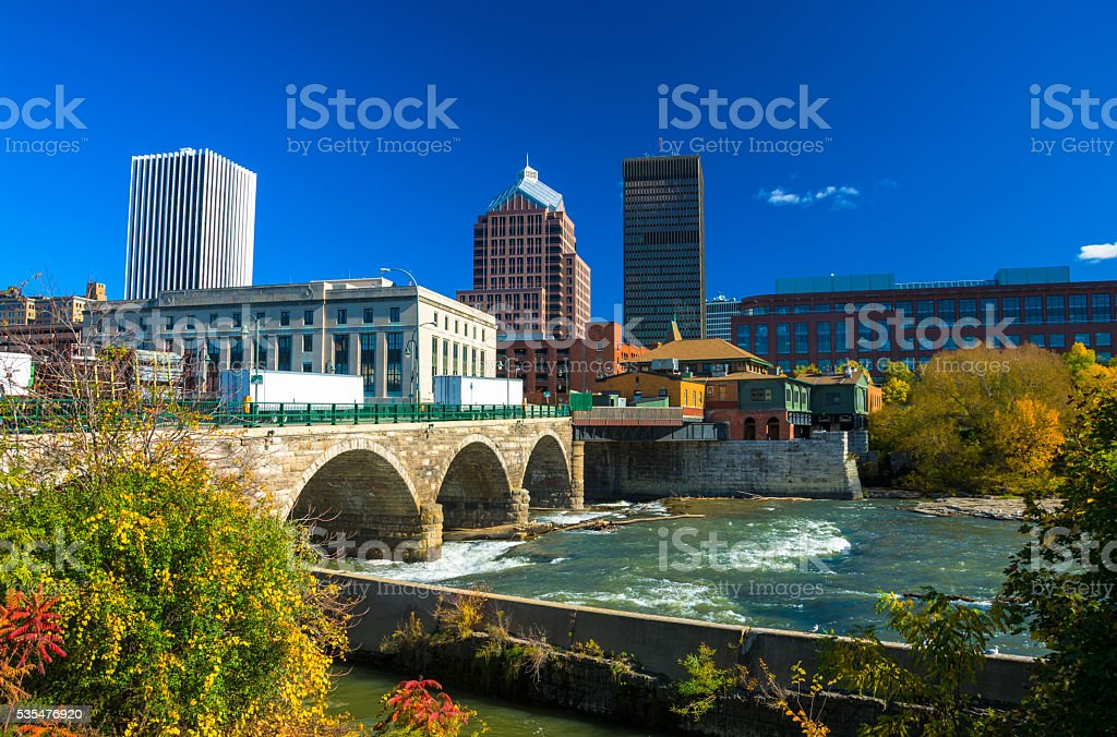 Rochester Skyline with Stone Bridge and River stock photo