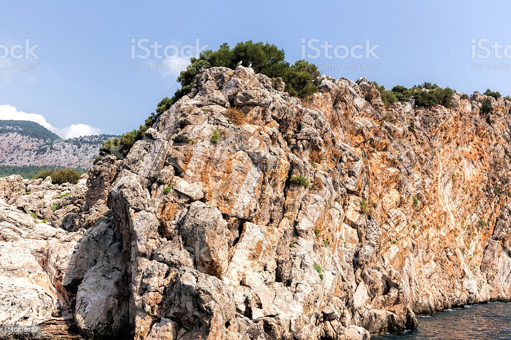 Rock and Mediterranean sea stock photo