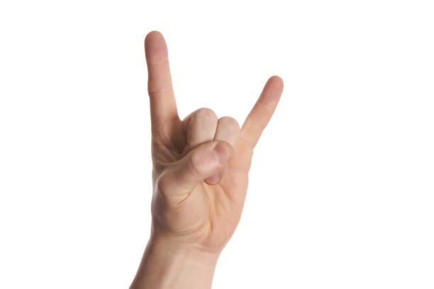 Signe de main de roche et de rouleau sur le fond blanc d'isolement - Photo