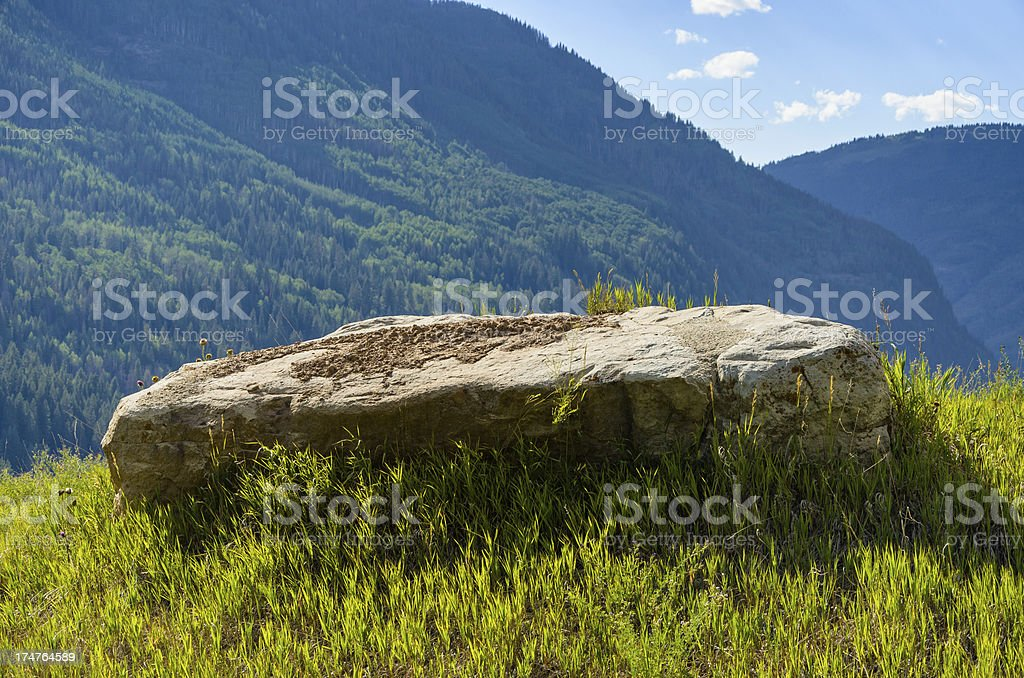 Rock and Scenic Mountain Landscape Backdrop stock photo