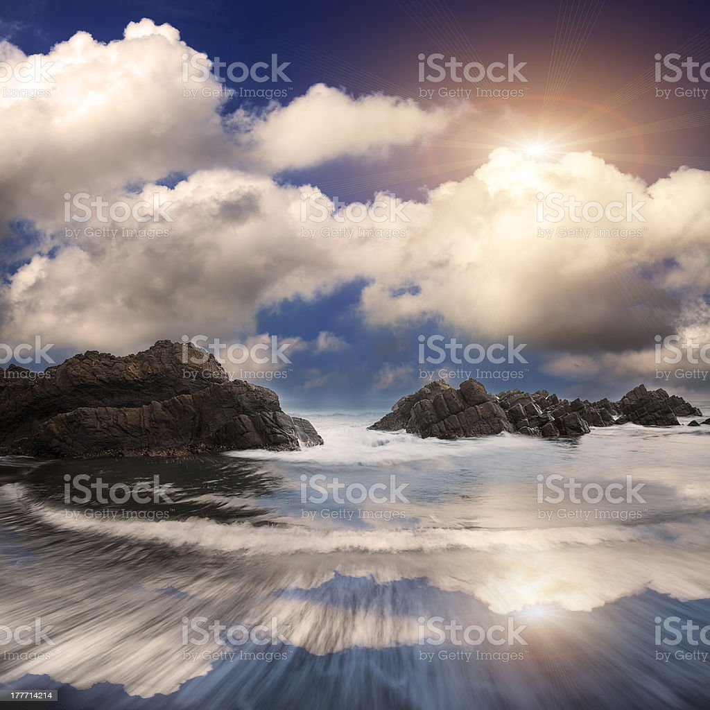 Rock and sea with sunset royalty-free stock photo