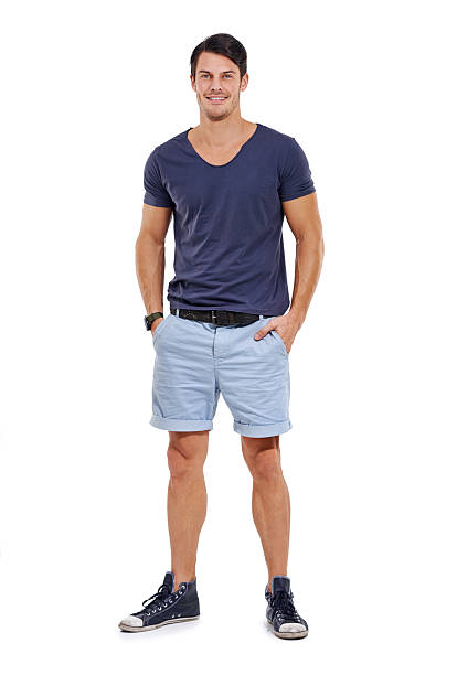 I rock any style! Full-length studio portrait of a handsome young man isolated on white shorts stock pictures, royalty-free photos & images