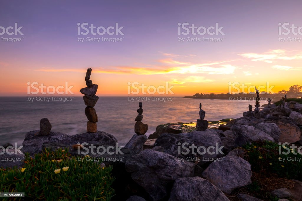 Rock Art and Sunset stock photo